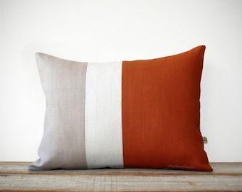 Burnt Orange & Cream Pillow Cover - Colorblock - Modern Home Decor by JillianReneDecor   Minimal   Linen   Color Block   Fall