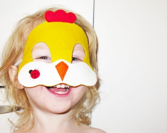 Chicken felt mask for kids and adults - yellow handmade farm animal costume - gift for boys girls - Dress up play accessory Theatre roleplay
