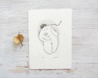 pencil art, drawing female art, feminine art, woman illustration, self love, poetic, spiritual, boho, minimalist art ORIGINAL sketch