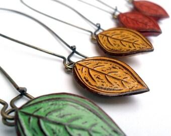 Leaf Earrings, Rustic Leaf Drop Earrings, Fallen Leaves Dangle Earrings, Green, Mustard Yellow or Rust Red