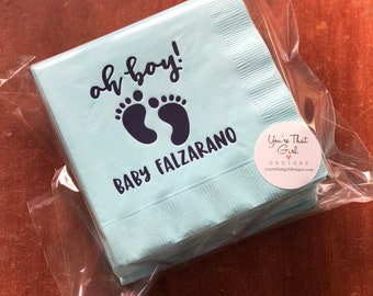 Baby Shower Napkins - Baby Boy Shower Party Napkins, It's a Boy Gender Coed Reveal Party Supplies, Personalized Paper Goods