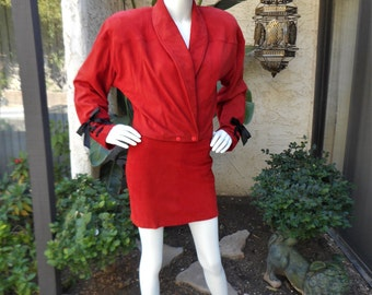 Vintage 1980's Jona Red Suede Suit - Size 4