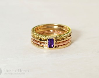 Stacking Ring Set of Four Gold or Platinum Stackable Rings with Yellow Diamonds and Emerald Cut Amethyst (Choice of Stone)