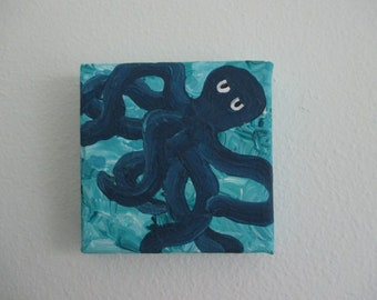 Blue Octopus Handmade Original Acrylic Painting