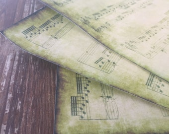 Vintage Aged Edible Music Sheet Images Scales Notes Printed on Wafer Paper with Edible Inks