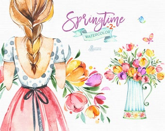 Springtime 2. Watercolor floral clipart, girls, tulips, bouquets, frame, vase, scooter, handcart, spring, template, wedding, flourish, sunny