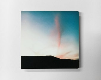 Cotton Candy Clouds - Photograph of Pink Clouds and Black Mountains on Metal