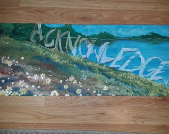 11 Inch by 28 Inch two part unframed painting titled Acknowledge