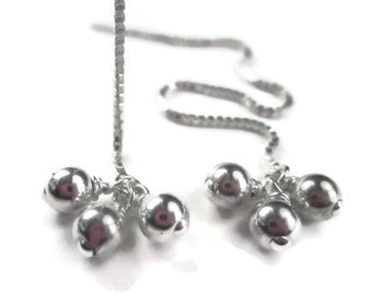 Sterling Silver Threader Earrings with Ball Cluster, Minimalist Long Chain Ear Threads