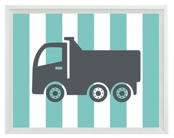 Construction Trucks Nursery Art - Boy Room Gray Aqua Stripes - Wall Art Print Home Decor  Print