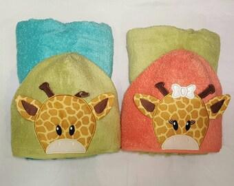 Giraffe Hooded Towel - Boy Giraffe - Girl Giraffe - Safari Nursery - Baby Shower Gift - Giraffe Print - Kids Hooded Towel - Jungle Theme