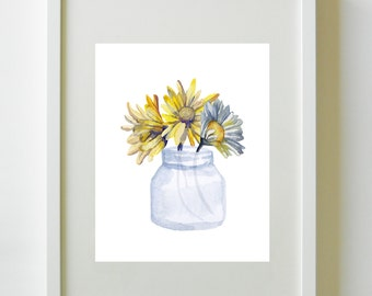 Grain & Galley | Daisy Mason Jar | Digital Art | Wall Art | Interior Design | Art Printable | Wall Decor | Instant Download