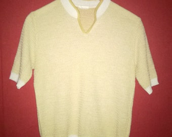 Vintage 60s pullover  Textured VINTAGE 60s PULLOVER  shortSleeve Stretchy Pullover S Mod SlimFit SkinnyFit Pullover Sweater