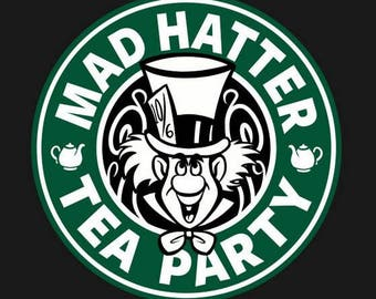 Mad Hatter Tea Party Vinyl Decal, Tea Drinker, Tea Lover, Tea Cup Decal, Laptop Decal, Car Window Decal