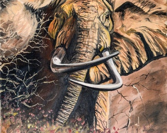 Fine Art Painting, Elephant Charging, by Patricia Carroll