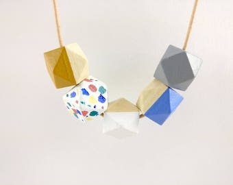 Geometric Necklace - Terrazzo, Mustard, Blue & Grey | Statement Necklace | Gift for her | Geometric Jewellery | Beaded necklace | Terrazzo
