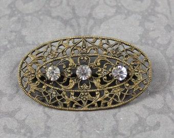 Antique Victorian Brass Filigree Triple Rhinestone Oval Brooch