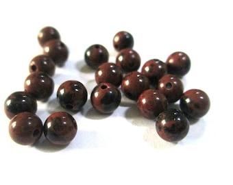 20 natural 4mm (G-03) mahogany Obsidian beads