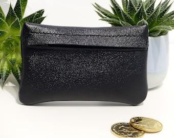 Leather wallet / / Black metallic