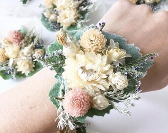 Dried flower corsage, rose corsage, wedding corsage, prom corsage, white corsage, floral corsage, boho corsage
