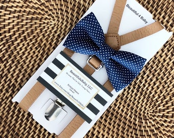 Navy Blue Bow Tie, Navy Toddler Bow Tie, Leather Suspenders, Navy Bow Tie and Leather Suspender Set- 6 Months to 5 Years Old