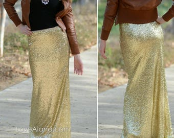 True Gold Maxi - Gorgeous high quality- Long sequined skirt - S, M, L, XL (Handmade in LA!)