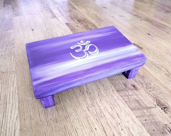 Purple meditation stool - Meditation bench with Om symbol - Prayer bench - Wooden stool with spiritual symbol - Meditation gift - Low stool