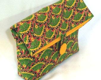 Green Cosmetic Bag, Makeup Bag, Clutch Purse, Fabric Bag, Purse Organizer, Handmade Cloth Purse, Toiletry Bag