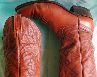 Dan Post of El Paso Brown Super Soft Vintage Cowboy Boots US 10.5 EW