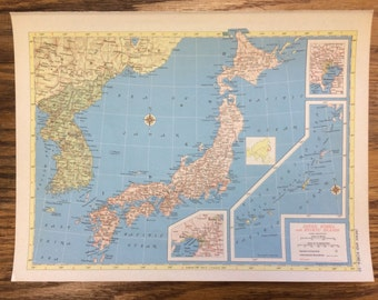Hammonds world atlas etsy japan korea ryukyu islands large map 1955 hammonds new supreme world atlas gumiabroncs Image collections