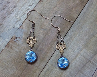 Aquamarine Vintage Style Oxidized Natural Brass Filigree Earrings Swarovski Crystal Drop Dangles Antique Look Patina Brass Drops Jewelry