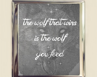 Two Wolves Cigarette Case Business Card ID Holder Wallet The Wolf That Wins is the Wolf You Feed Native American Black White Wolf Celestial