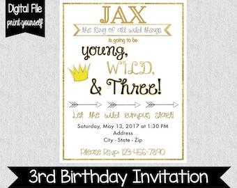 Young, Wild, & Three Birthday Invitation - Third Birthday Invitation - Boys Birthday Invite - Wild Rumpus - 3rd Birthday Invite - Wild Three