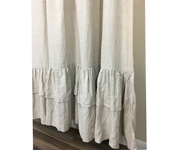 Natural Linen Curtains With Two Tiered Of Mermaid Long