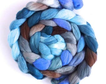 Glacier, Rambouillet Wool Roving - Hand Painted Spinning Fiber