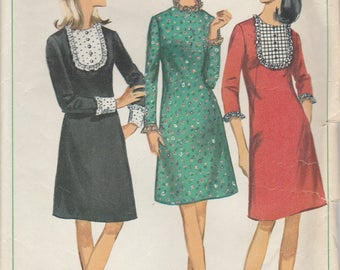 60s Mini Dress Vintage Pattern Simplicity 6731 Size 16
