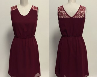 Annie (Burgundy) : Burgundy red chiffon dress, lace illusion, v cut back, day to night, vintage, bridesmaid