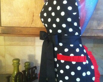 RETRO, Polka Dot Apron, Pin up apron, Pick Your Color Trim, Scotch Guarded