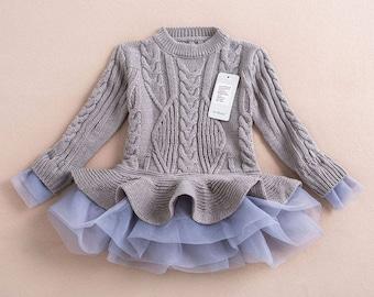 Autumn Grey Thick Warm Girl Dress Princess Knitted Winter Kids Sweater TuTu Dress children