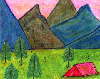 Wild Mountain Adventure Painting, Mixed Media Mountain Camping Painting, 50x50 cm (20x20 Inch) Art Print