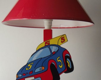 Wooden kids bedside lamp rally car
