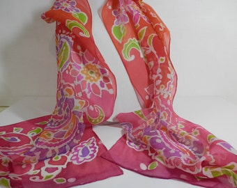 Chiffon Silk ,Hand Painted Paisley in Coral, Pink, Orange with Tonal Hombre Background