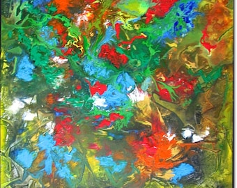 Acrylic Painting Abstract Landscape ORIGINAL CONTEMPORARY ART Textured Canvas Art Green Blue Red Canvas Painting 24x24x1,5 (60cmx60cmx3,6cm)
