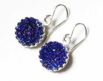 Blue Druzy Earrings Silver Crown Earrings Blue Drusy Earrings Drusy Real Fine Druzy Fine Druzy Jewelry FD-E-103-B/s