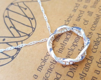 DNA Pendant-Hand Made DNA Necklace-Inifinity-Eternity Mobius Necklace-Doctor Genetics Gift-Science Gift-Teacher Gift-Graduation Gift