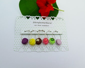 Wine glass marker Macarons set with 6