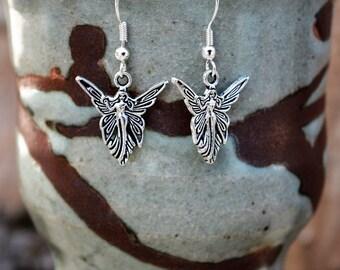 Fairy Faerie Faery Silver Earrings, Nymph Pixie Earrings, Nymphs Pixies Earrings Pagan, Wicca Wiccan, Dangle Metal Earrings