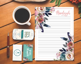 Customizable Stationary: Dusty Rose and Misty Blue Pattern