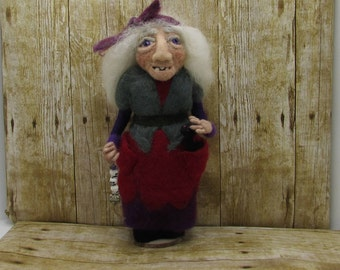 Felted witch doll, Beaulah a Bayou swamp witch doll, needle felted doll, wool witch doll, witch felt doll, snake charmer witch, fantasy doll