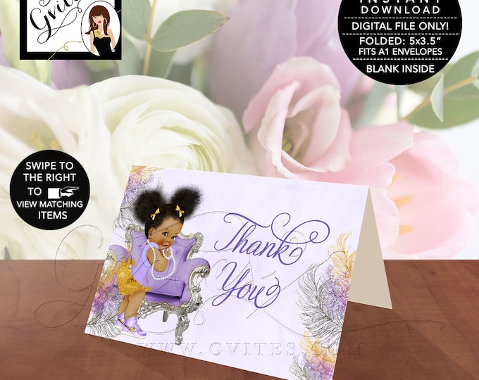 """INSTANT DOWNLOAD-Thank You Baby Shower, Lavender Purple Silver Gold, African American, Afro Puffs, Folded Card 5x3.5""""/2 Per/Sheet."""